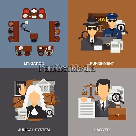 law design concept set with punishment