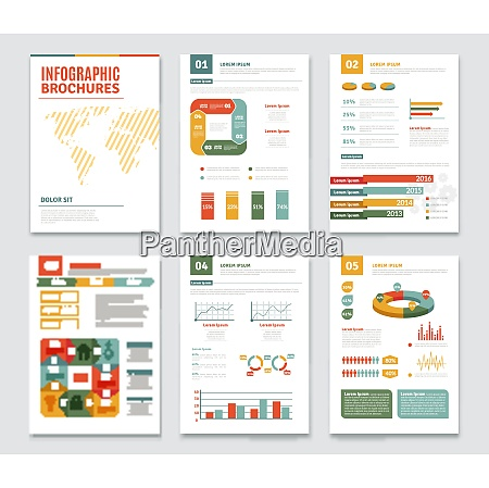 infographic brochures set with statistics and