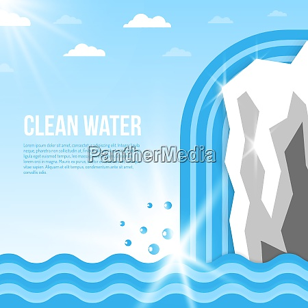 clean water background with glacier with