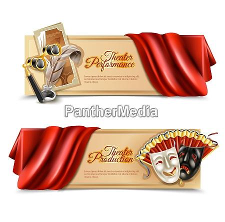 theatre performance realistic horizontal banners set