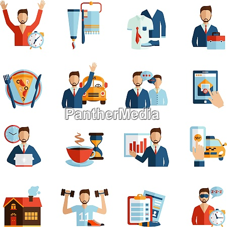 man daily routine icons set day