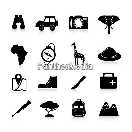 jungle safari and travel icons black