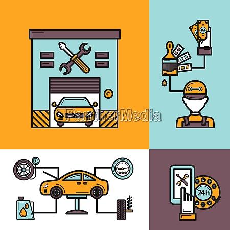 auto service design concept set with