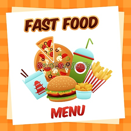 fast food menu concept with pizza