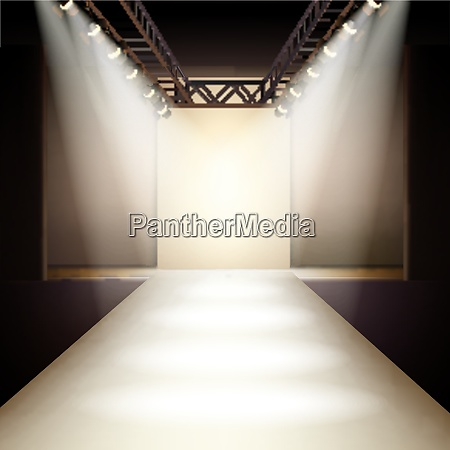 empty fashion runway podium stage interior