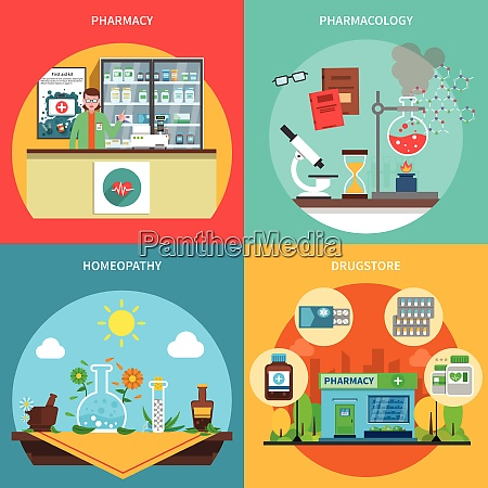 pharmacy design concept set with pharmacology