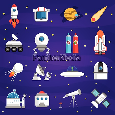 space icons set with rocket lunar