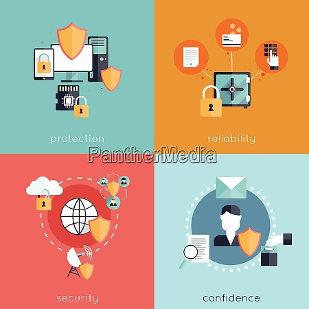 information security design concept set with