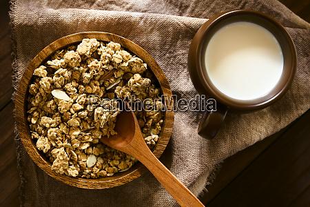 crunchy granola with milk