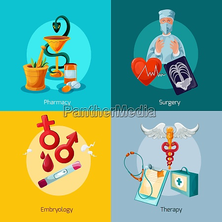 medical design concept set with pharmacy