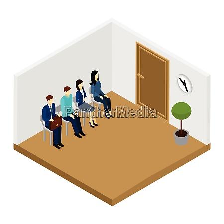 men and women waiting for job