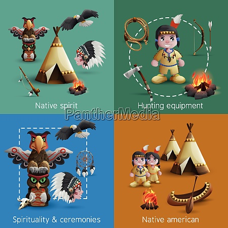 native american design icons set with