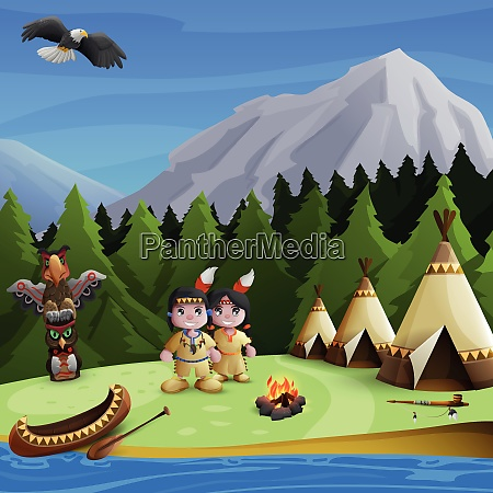 native american concept with cartoon persons
