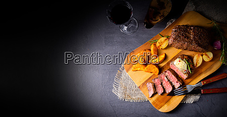 rustic medium butter beef steak with