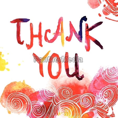 watercolor hand drawn thank you lettering