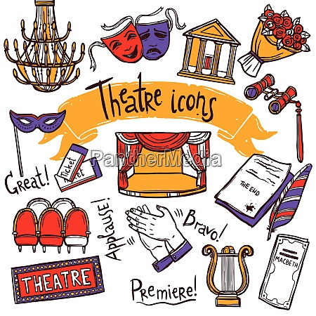 theater performance decorative icons sketch set