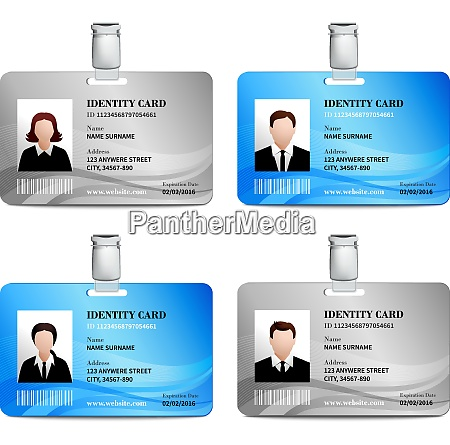 user id card realistic set with