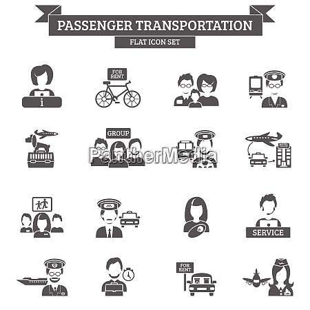 passenger transportation black icon set with