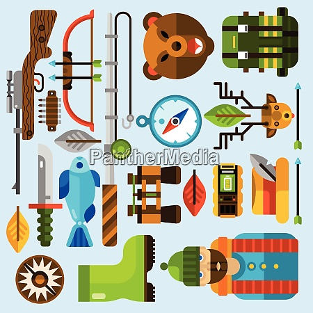 hunting and fishing icons set with