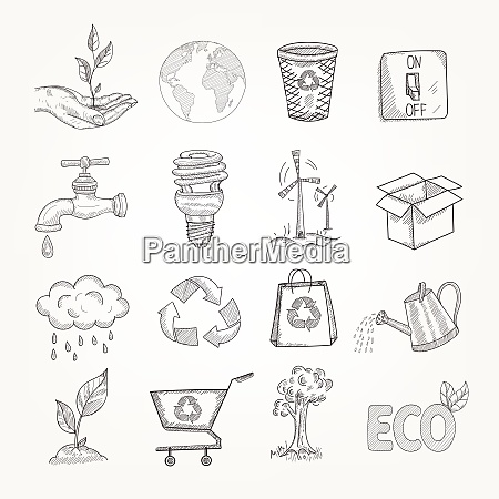 doodles garbage recycling global conservation ecology