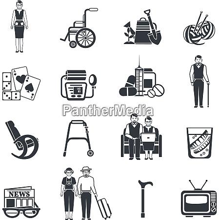 pensioners life black white icons set