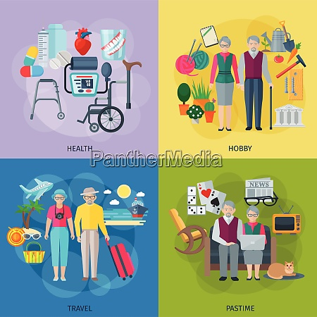 pensioners life concept icons set with