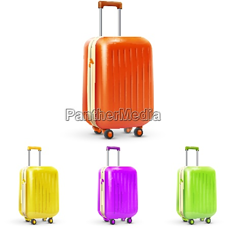 set of colored plastic travel baggage