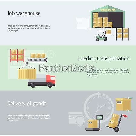 warehouse horizontal banner set with transportation