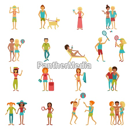 people on vacation beach party summer