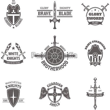 vintage heraldic coat of arms labels