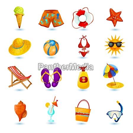 summer holidays decorative icon set with