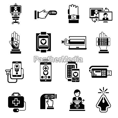 digital medicine icons black set with