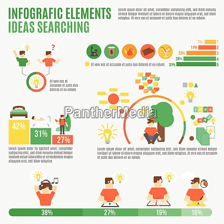 ideas infographic set with creativity and