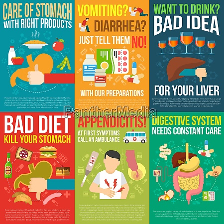 digestion posters set with bad diet