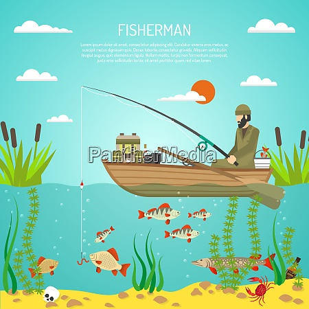 flat color design concept with fisherman