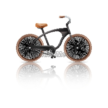 realistic bicycle retro travel bike isolated