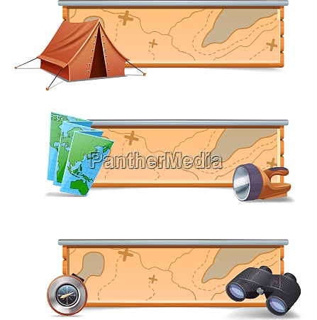 hiking banners horizontal set with realistic
