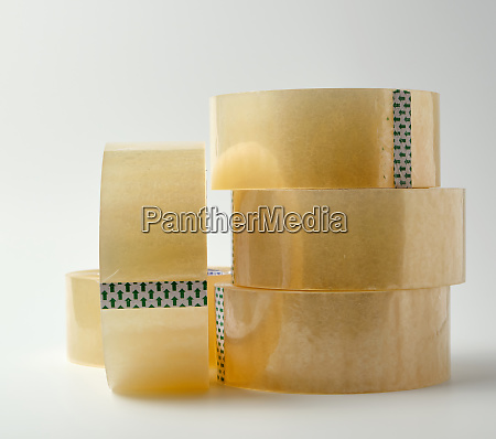 stack of transparent adhesive tape on