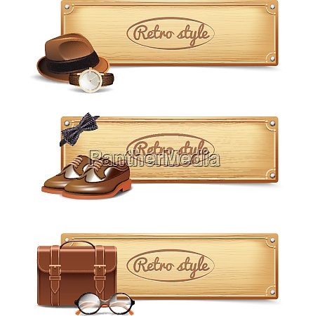 gentleman horizontal banner set with realistic