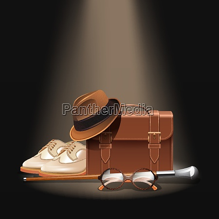 gentleman accessories set with realistic briefcase