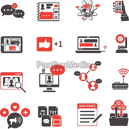 social network red black icons set