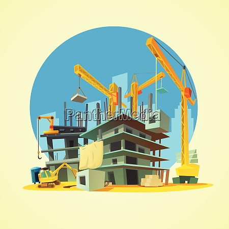 construction with building crane and excavator