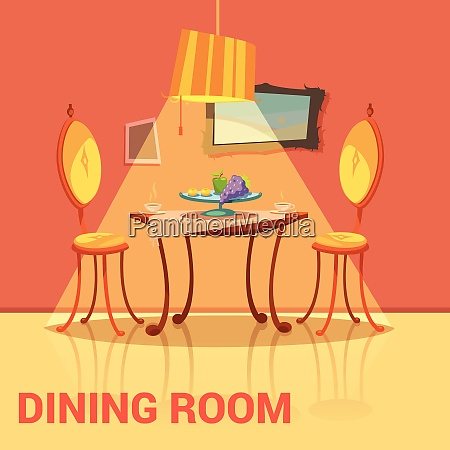 dining room retro design with table