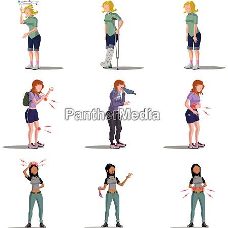 medicine disease woman flat characters set