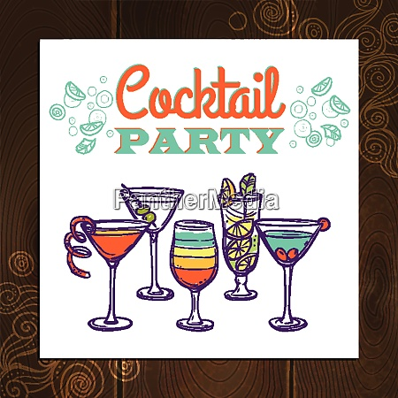 cocktail party invitation poster with hand