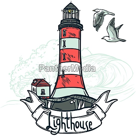 lighthouse sketch illustration with ribbon seagull