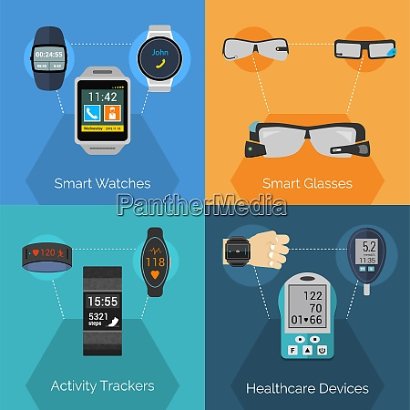 wearable technology design concept set with