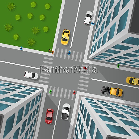 city street top view 3d design