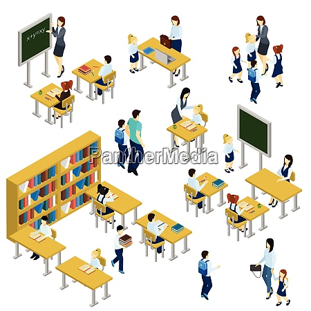 school isometric set with teacher children