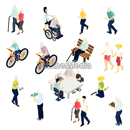 pensioners life isometric set with health